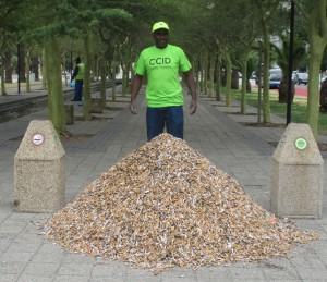 Straatwerk supervisor, James Mandean, with one month's worth of cigarette butts collected from the CCID's 270 cigarette bins in the CBD. The monthly average is around 142kg of butts – or close to 1 800kg per year