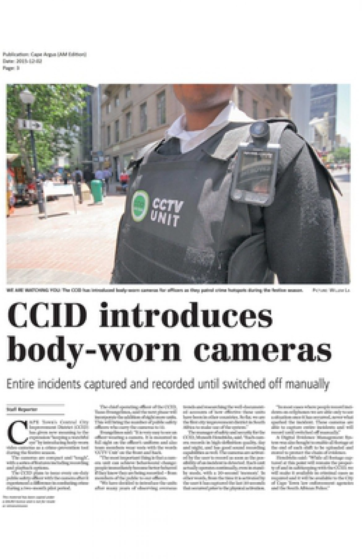 CCID introduces body-worn cameras